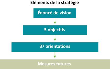 Les éléments de l'ébauche de la stratégie sont montrés dans une série de rectangles de plus en plus grands. Les éléments se succèdent comme suit : Vision; 5 objectifs; 37 orientations; mesures futures.