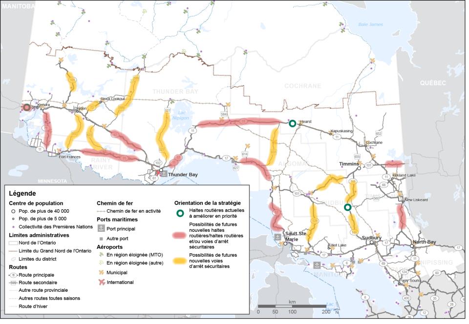 Cette carte montre trois endroits prioritaires cernés pour l'amélioration de haltes routières existantes. Elle montre également des tronçons du réseau routier cernés pour la construction ou l'amélioration de haltes routières et/ou de voies d'arrêt sécuritaires potentielles ainsi que des tronçons cernés pour de nouvelles voies d'arrêt sécuritaires potentielles.